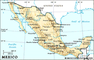 Cartina Geografica Fisica Del Messico.Cartina Geografica Del Messico Camera Di Commercio Di Ferrara